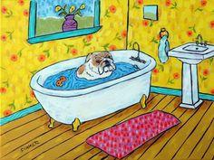 bulldog bathroom 4x6 glossy signed art PRINT impressionism artist animals gift #modern