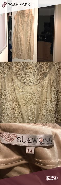 Sue Wong lace nude dress Beautiful lace detail.  Dress only worn once. Sue Wong Dresses