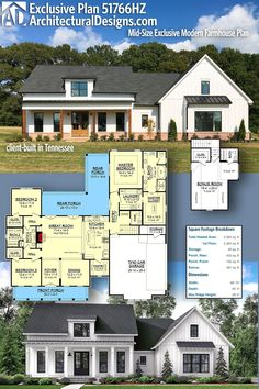 House Plan 51766HZ gives you 2000+ square feet of living space with 3+ bedrooms and 2.5 baths. AD House Plan #51766HZ #adhouseplans #architecturaldesigns #houseplans #homeplans #floorplans #homeplan #floorplan #houseplan Metal Building House Plans, New House Plans, Modern House Plans, House Floor Plans, Alternate Exterior, Modern Farmhouse Plans, Farmhouse Style, Open Living Area, Cabin Plans