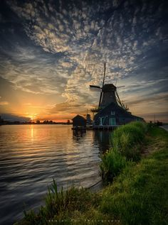 Sunset, Zaanse Schans, Holland by Karel Ton / Holland Windmills, Old Windmills, Scenic Photography, Landscape Photography, Nature Photography, Le Moulin, Rembrandt, Nature Pictures, Landscape Photos