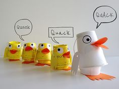 Kids Craft - Up-cycled Paper Cup Duck Family DIY
