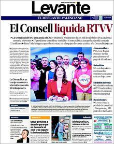 #rtvvnoestanca #rtvvtornara Portada de Levante (España): Cierra RTVV