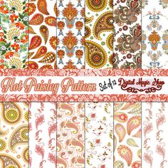 12 Hot Paisley Pattern Digital Papers Pack   by DigitalMagicShop, $2.50