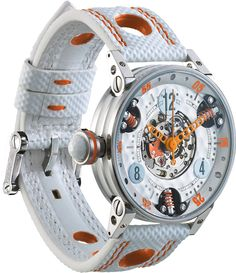 M Watch Golf Master Ladies Orange Hands- Watch Available to buy online. Brm Watches, Breitling Watches, Cool Watches, White Watches For Men, Luxury Watches For Men, Swiss Automatic Watches, Watch Model, Telling Time, Latest Jewellery
