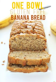 Bowl Gluten Free Banana Bread THE BEST GF Banana bread recipe I have ever made! This is my new go-to recipe. I only cooked it one hour and it was perfect! One Bowl Gluten Free Banana Bread Recipe!THE BEST GF Banana bread recipe I have ever made! Dessert Sans Gluten, Gluten Free Sweets, Gluten Free Cooking, Dairy Free Recipes, Healthy Recipes, Healthy Meals, Simple Recipes, Drink Recipes, Gluten Free Meals