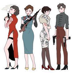 gang of dangerous women Character Concept, Character Art, Concept Art, Character Design Cartoon, Character Design Inspiration, Story Inspiration, Pretty Art, Cute Art, Character Illustration