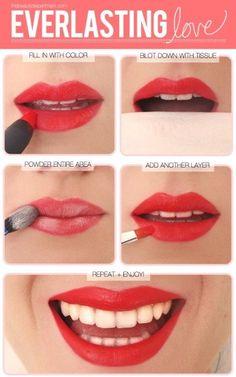 Applying lipstick: