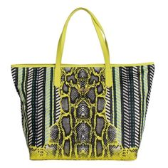 887d1aca9f92 Cavalli Multicolor Yellow Snakeprint Shopping Tote Bag