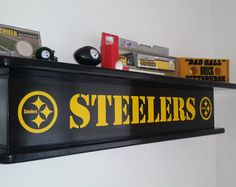 Pittsburgh Steelers NFL Themed Floating Wall Shelf Man Cave Rec Room Den Office