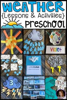 Are you looking for a fun, hands-on and engaging weather unit for your preschool classroom? Check out our weather unit. This unit has book suggestions, large group, small group, centers and independent weather activities. Weather Activities Preschool, Teaching Weather, Preschool Books, Preschool Themes, Preschool Science, Preschool Lessons, Preschool Kindergarten, Science Lessons, Preschool Learning