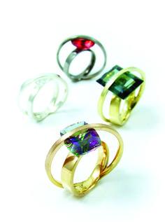 fancy rings with decorative settings by Jakub Śliwowski