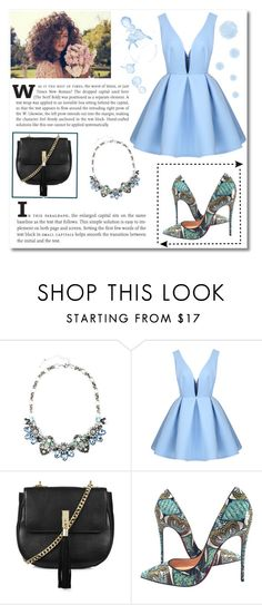 """Blue."" by aldinna ❤ liked on Polyvore featuring Topshop, Christian Louboutin, women's clothing, women, female, woman, misses and juniors"