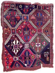 East Central Anatolia Rug, early 19th century Anatolian carpet designs with tilelike patterns date back to so-called Seljuk rugs of the 14th century or earlier. SIZE: 71 x 53 in. (180.3 x 134.6 cm.) New England Rug Society