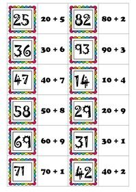 Mémory des décompositions des nombres en dizaines+unités Math 2, 2nd Grade Math, French Worksheets, Bar Graphs, Place Values, Word Problems, Multiplication, Teaching Math, Classroom Organization