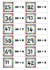Mémory des décompositions des nombres en dizaines+unités Math 2, 2nd Grade Math, French Worksheets, Bar Graphs, Place Values, Word Problems, Multiplication, Teaching Math, Math Centers