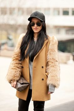 Double breasted wool coat with fur sleeves. Winter Chic: 40 Stellar Street Style Outfits to Copy Now   StyleCaster