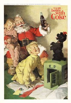 Vintage Magazine Ad from 1964 Magazine Santa and Coca Cola Children Black Poodle Things Go Better with Coke Coke Santa, Coca Cola Santa Claus, Coca Cola Vintage, Coke Ad, Coca Cola Ad, Pepsi, Vintage Advertisements, Vintage Ads, Vintage Posters