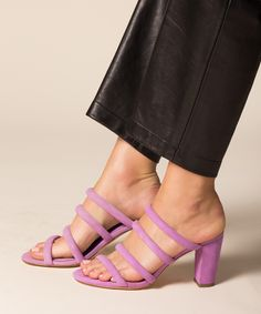 Lavender suede mule sandal from Charlotte Stone. Best-selling pink slides. Comfy and chic heels.