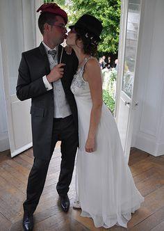 robe de mariée en mousseline de soie et dentelle de couleur #creationsurmesure #mariage #mariee #haute-couture #paris #createur #robedemarie #dosnu