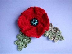 Как вязать мак Урок20 How to crochet poppy Cómo amapola crochet