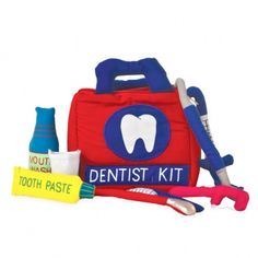 An adorable kid's Dentist kit. Making dental care fun will help make it a lifelong habit!