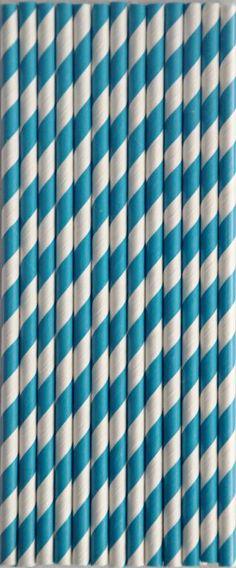 Papierowe Retro Słomki !! niebieskie morskie paski