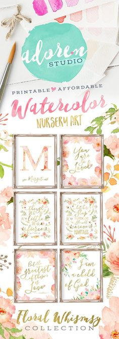 The Floral Whimsy Collection by Adoren Studio.  Watercolor Floral Nursery Art! Featuring floral tones in peach, pink and coral #nurseryart