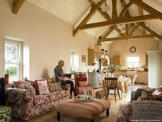 Sonya McDowell in the living room of her century-old cottage near the seaside town of Donaghadee in County Down.
