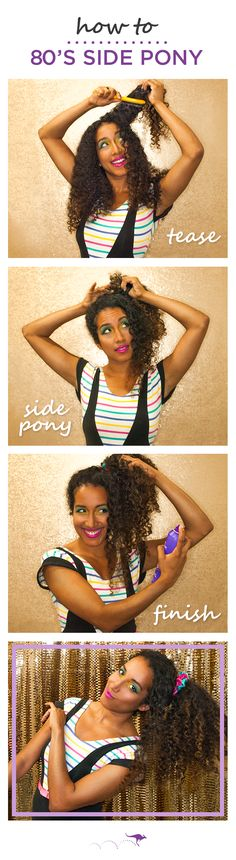 An 80's Side Pony makes for an easy DIY throwback Halloween costume. Here's 3 easy steps from celebrity stylist @Sarah Potempa 1. Brush or pull hair to one side. At the root, brush downward towards your scalp to tease for added volume. 2. Pull hair into a high side pony and secure with a hair tie. Add a bright scrunchie for a super 80's look. 3. Finish with Aussie Sprunch hairspray for all night stay. Pair this look with anything neon or spandex and vogue on down to your costume party.