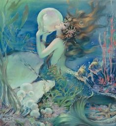 "Henry O'Hara Clive, ""The mermaid,"" pastel"