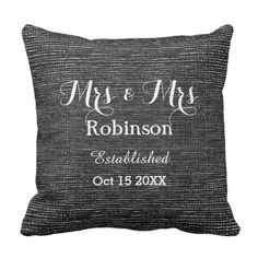 Throw pillow in neutral mono, black and white, with a special Custom personalization of the happy couples wedding date and name. A Mr & Mr personal wedding gift to commemorate their marriage.