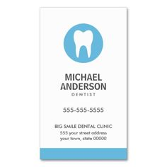 Modern and minimal dental business card with blue tooth logo. Great for a dentist or dental clinic, dental assistant, hygienist and more. Fully customizable business card.