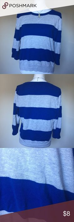 """JCPenney 3/4 Sleeve Striped Sweater This has been gently worn, it is a cashmere blend. The sleeves are 3/4. The fabric is pilling. Shoulder to hem is about 21"""", however as you can see from the photos it is a high low sweater. Bust is about 37"""". This is 55% cotton, 20% modal, 20% nylon and 5% cashmere. This pairs perfectly with my Pearl Owl Necklace listing! Prices $10 and below are firm. Bundle 2+ of my items and save 15%! I do not trade or hold items. jcpenney Sweaters Crew & Scoop Necks"""