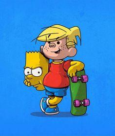 Dennis the Menace and Bart Illustration by Alex Solis Cartoon Kunst, Cartoon Art, Cultura Pop, Iconic Characters, Cartoon Characters, Alex Solis, Art Pulp Fiction, Pulp Art, Sketch Manga
