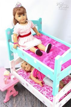 OMG! These are the cutest American Girl Doll Bunk Beds! They are a diy IKEA hack using doll beds which makes them inexpensive and easy to customize for the kids. So cute!