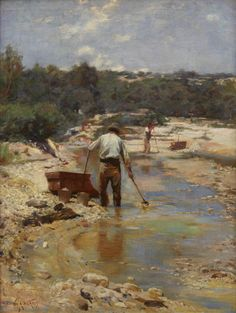 Walter Withers' 1893 oil on canvas titled <i>Seeking for Gold - Cradling</i>, a gem of the late Heidelberg period and once a piece of Victorian-owned heritage, has been bedded down north of the border at the Art Gallery of NSW, with the work donated to the gallery by the Australian Securities Exchange ( ASX).