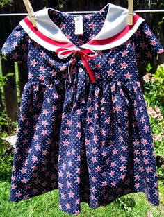 Toddler Sailor Dress More Fabrics sizes 6M 4T Made by KnittedKids
