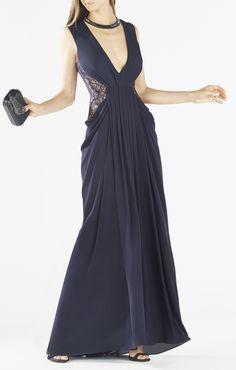 for jons ball...? Kamara Deep-V Lace Draped Gown