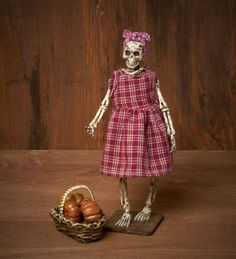 Cute Miniature Skeleton Farmerwoman for your Dollhouse by DinkyWorld on Etsy