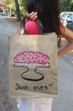 Just pies Jute market tote farmers bag chic stylish by Apopsis
