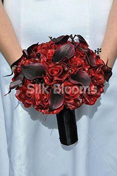 Amazon.com - Dark Red Rose & Black Calla Lily Gothic Bridal Wedding Bouquet -