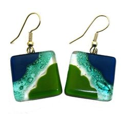 Ocean River Meadow Fused Glass Earrings Global