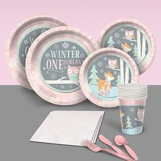 Our Pink Winter ONEderland Basic Party Pack include plates, napkins and cups for eight people including a coordinating table cover. First Birthday Winter, Winter Birthday Parties, First Birthday Party Themes, Baby Girl First Birthday, Birthday Ideas, 2nd Birthday, Winter Parties, Christmas Parties, Christmas Treats