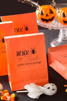 Personalize your Halloween party with spooky pumpkin goodie bags from ForYourParty.com.