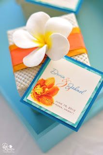 DK Designs - white plumeria pandan favor boxes with oranges, teal/turquoise details. Gold Wedding Invitations, Wedding Paper, Wedding Stationery, Wedding Favors, Wedding Themes, Wedding Decorations, Wedding Vowels, 30th Anniversary Parties, Orange Wedding Colors