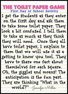 Fun idea for my teacher friends in the older grades. First Day of School Activities for Big Kids- The Toilet Paper Game