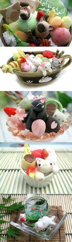 日本人のおやつ♫(^ω^) Japanese Sweets ニャンコ型お菓子 Some cute desserts.
