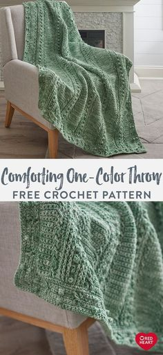 Comforting One-Color Throw free crochet pattern in Red Heart Super Saver yarn I Comforting One-Color Throw free crochet pattern in Red Heart Super Saver yarn Inspire beautiful spaces with this classically styled throw you crochet Begin with the Crochet Crafts, Crochet Yarn, Free Crochet, Crochet Owls, Crochet Angels, Crochet Ornaments, Crochet Snowflakes, Chrochet, Crochet Afghans