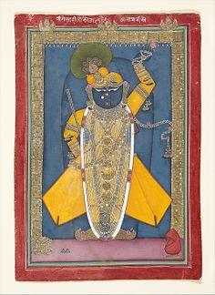 """Shri Nathji bedecked for Goswami Vitthalnathji's birthday"", ca. 1840, India (Rajasthan, Mewar, Nathadwara), source: The Metropolitan Museum of Art"
