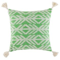 A lively statement of pattern play, the Axe cushion's directional design commands attention. Printed on a softly textured cotton, this eye-catching cushion is finished with tasselled corners in a vivid hue. Wooden Storage Bench, Wooden Shoe Racks, Wooden Dining Chairs, Wooden Bar Stools, Pillow Top Mattress, Best Mattress, Green Cushions, Comfort Mattress, Jewelry Cabinet